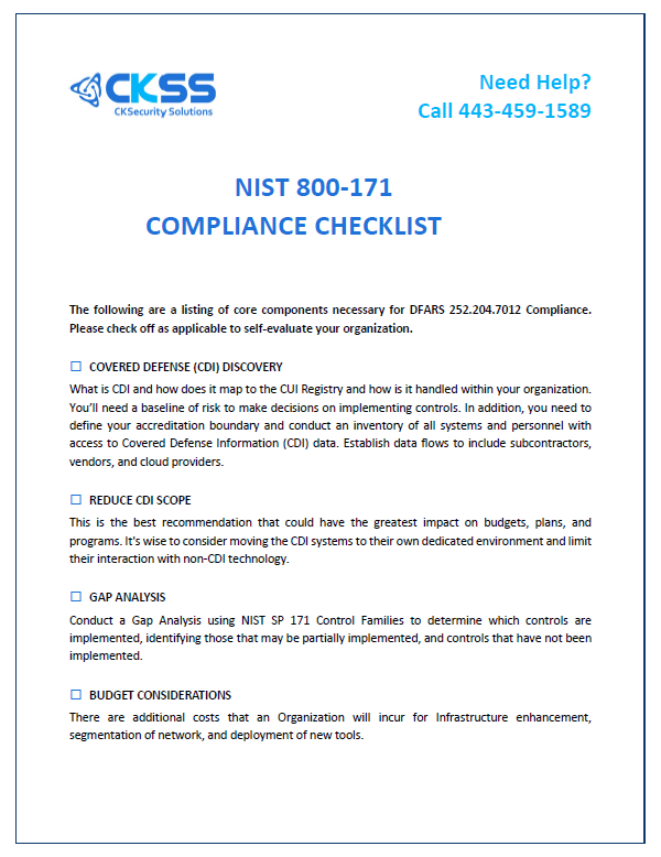 NIST 800-171 Compliance Checklist | CKSS:: Cybersecurity Solutions
